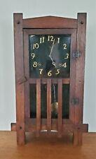 Antique 8 Day Ingraham Oak Mission Shelf Clock Arts Crafts Era Working
