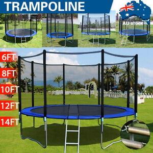 8/10/12/14/16FT Trampoline Spring Round Trampolines Set Safety Net Pad Kids Gift