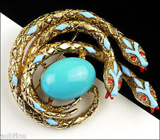 VTG SIGNED ART FIGURAL FAUX TURQUOISE BLUE CABOCHON SNAKE SERPENT BROOCH PIN 60s