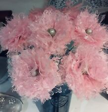 Lace Flowers Pale Pink Stemmed Handmade Bouquets Weddings Shabby Chic x 7