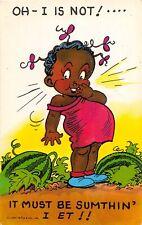 F75/ Black Americana Postcard Chrome Watermelon Patch Girl 19