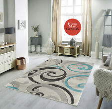 Brand New Swirls Hand-Carved Soft Living Room Modern Contemporary Area Rug