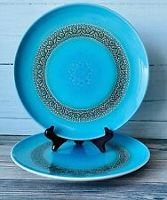 "Vtg Syracuse China Carefree Calypso Aruba Set /2 10"" Dinner Plate ~ Turquoise"