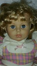"21"" Berenguer Doll In Dress With Blue Eyes Blonde Hair Girl Toddler Beatiful *7"