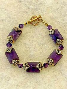 Faceted Purple Stone Bracelet with Gold Tone Accents Approx.8 In. Long