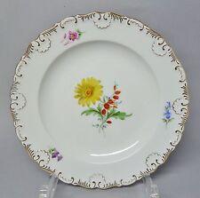 (g259) pastel Meissen plato, flores de decoración, muschelkante, oro decorado, d = 19 cm
