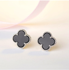 925 Sterling Silver Post On Top Clover Black Onyx Stud Earrings Gift Box 12MM