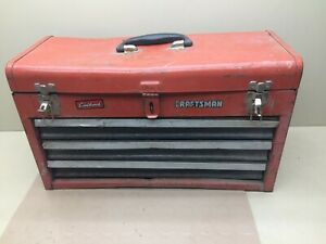 VINTAGE SEARS CRAFTSMAN 3 DRAWER TALL RED TOOL BOX CHEST