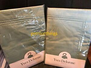 Yves Delorme 2 King Shams Cases Triomphe Celadon Green 300TC Cotton Sateen NWT