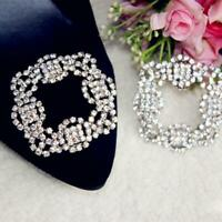 Fashion Square Rhinestone Shoe Clips For Metal Decorative Clip Accessories Gifts