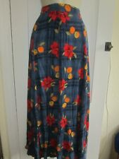 Ladies size 8 blue with mix red orange green floral long summer skirt