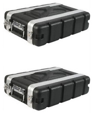 """(2 Pack) Rack Case 2U Space SHALLOW 8 Inch Deep Shell, ABS 19"""" Std, with screws"""