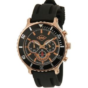 Lee Cooper Gents Watch LC-1304G-B Black Silicone Strap Copper Case Chronograph