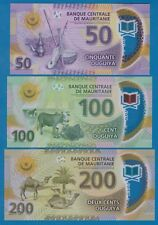Mauritania set 3 New notes 2017 - 2018 Polymer UNC 50 + 100 + 200 Low Shipping
