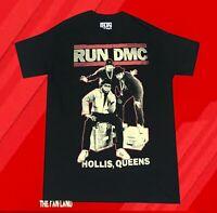 New RUN DMC Hollis Queens Classic Rap Black Mens Retro Vintage T-Shirt