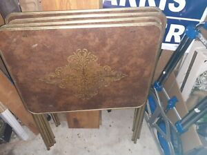VINTAGE Set 4 FAUX WOOD METAL TV Snack Tray Tables No Stand