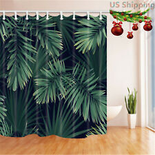 Tropical Palm Tree Leaves Bathroom Waterproof Fabric Shower Curtain & 12 Hooks