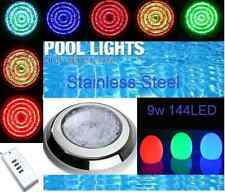 *NEW HQ 144 LED STAINLESS STEEL POOL SPA LIGHT RGB WITH 7 COLOUR AND  REMOTE