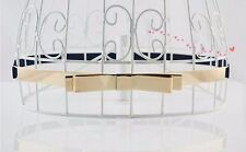 Women Lady Gold Narrow Skinny Slim Mirror Bow Metallic Waist Band Dress Belt G17