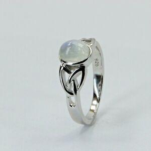 Size 7 Blue Rainbow MOONSTONE Celtic Ring 925 STERLING SILVER Rhodium #421