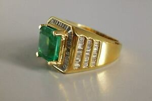 6ct Colombian Emerald Pinky Ring Men with Baguette Diamond 14K Yellow Gold Over