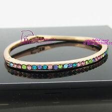 Vintage Real Women Girls Solid 18k Rose Gold GF Oval Bangle Bracelet Lab Diamond