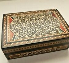 """Vintage Wooden Mother-of-Pearl Inlaid Mosaic Trinket Jewelry Box 5 x 3.5"""""""