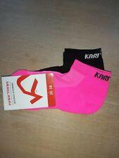 2 Womens KARI TRAA 36-38 3-5 Black Neon Pink PERFORMANCE Low Cut Trainer SOCKS