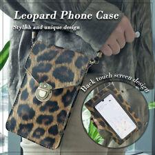 Ladies diagonal bag Leopard  PU touch screen transparent mobile phone bag