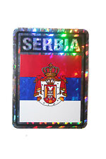 SERBIA COUNTRY FLAG  METALLIC BUMPER STICKER DECAL .. 4 X 3 INCH