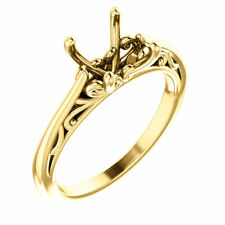 Real 14k Yellow Gold Solitaire Semi Mount Cushion Filigree Vintage Wedding Ring