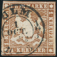 WÜRTTEMBERG, MiNr. 6 a, sauber gestempelt, gepr. Heinrich, Mi. 90,-