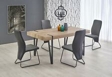 """YOHAN"" Vintage Industrial San Remo Oak Top and Metal Legs Dining Table & Chairs"