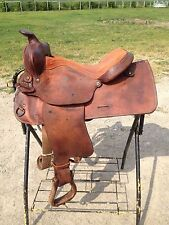 "Used 15"" US made Western trail / pleasure saddle w/rough out fenders, jockeys"