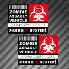 2x Zombie Assault Vehicle License Stickers Decal Vinyl graphic apocalypse permit