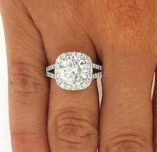 3.5 Ct Round Cut Split Shank Halo Diamond Engagement Ring SI1 D White Gold 14k