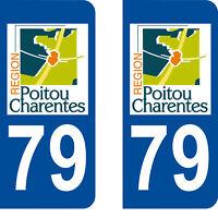 Département 79 sticker 2 autocollants style immatriculation AUTO PLAQUE