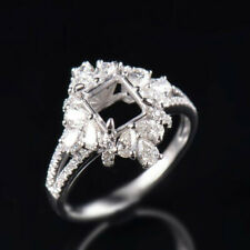Emerald Cut 7×6mm Natural Diamond Semi Mount Ring Setting Solid 14K White Gold