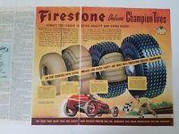 1946 Firestone Tires DeLuxe De Luxe Champion Tire Race Car Original Ad