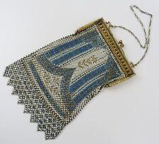 Gold cream & blue Mandalian art deco vintage mesh purse