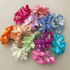 50 Mixed Colors Lily Mulberry Paper Flowers Scrapbook card wedding craft