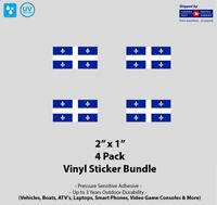"4- Pack 2"" x 1"" Québec Flag Vinyl Stickers"