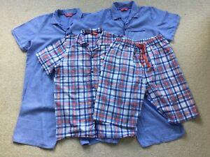 minijamies boys short pyjamas age 12-13 years 3 pairs vgc blue 100% cotton