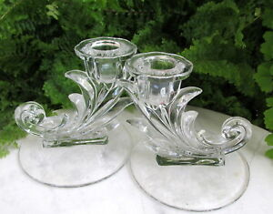 LOVELY ETCHED FOSTORIA MEADOW ROSE CANDLE HOLDERS