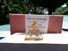 VOGEL! Tangerine Aura Quartz-18K GOLD on Silver Triangle Pendant-Vibrant Energy