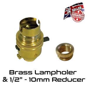 Brass Lamp Holder Switched - Bayonet BC - Bulb Holder & 10mm Reducer *UK Stock*