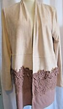 CUPIO WOMENS BEIGE WITH ROSE OPEN SWEATER, SIZE XL, NEW WITH TAGS