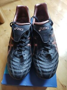 Asics Lethal Testimonial Leather Football Boots, Great cond Black/RoseGold UK8.5