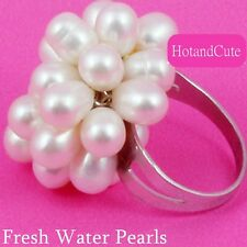 Natural Fresh Water Pearls Adjustable Stainless Steel Ring Size 6 7 8 9 O P Q R