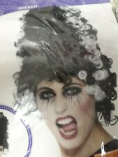 SMIFFYS LADIES FANCY DRESS WIG -  MONSTER BRIDE, BLACK AND WHITE WIG